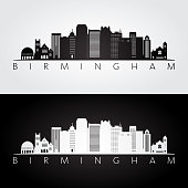 Birmingham usa skyline and landmarks silhouette, black and white design, vector illustration.