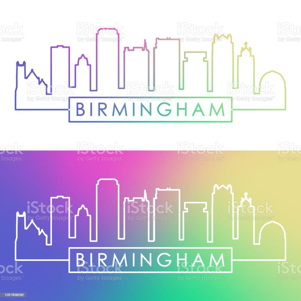 Birmingham USA skyline. Colorful linear style. Editable vector file. vector art illustration