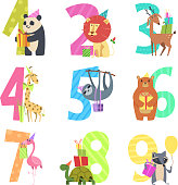Birtday numbers animals. Party fun invitation for kids celebration characters animals of wildlife zoo vector cartoon mascots. Illutration of birthday numbers with lion and panda, turtle and raccoon