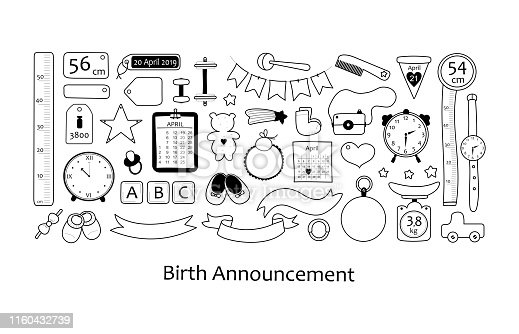 Birth announcement. Set of vector elements for the newborn metric for children bedroom.