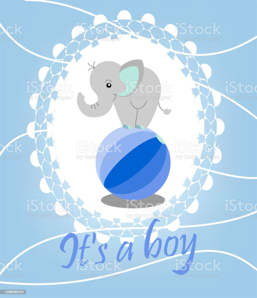 birth announcement template cute elephant boy on the ball arrival