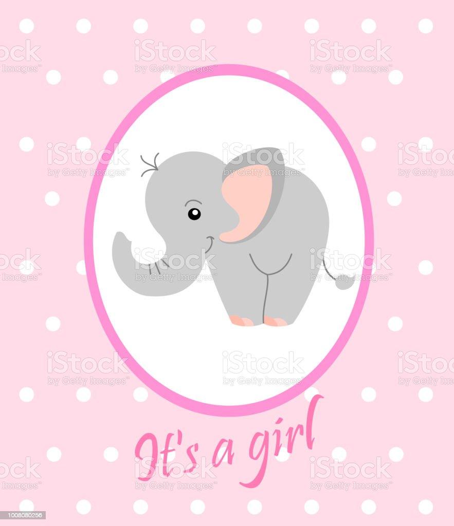 birth announcement template cute elephant girl arrival announcement