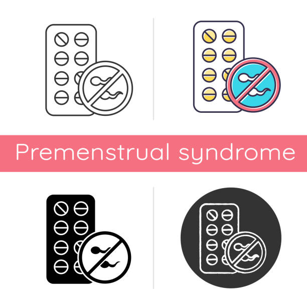 Birth control icon. Female contraceptive pills. Unplanned pregnancy avoidance. Predmenstrual syndrome aid. Hormonal medication. Flat design, linear and color styles. Isolated vector illustrations Birth control icon. Female contraceptive pills. Unplanned pregnancy avoidance. Predmenstrual syndrome aid. Hormonal medication. Flat design, linear and color styles. Isolated vector illustrations spermicide stock illustrations