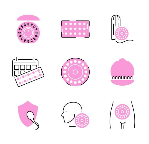 illustrations, cliparts, dessins animés et icônes de jeu de collection d'icônes pilule contraceptive. illustration de prévention de la grossesse. - planning familial