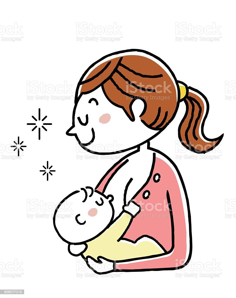 Birth: Mother who gives baby breast milk vector art illustration