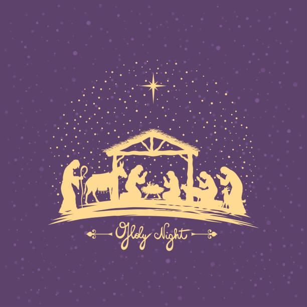 Birth of Christ. Nativity Scene. vector art illustration