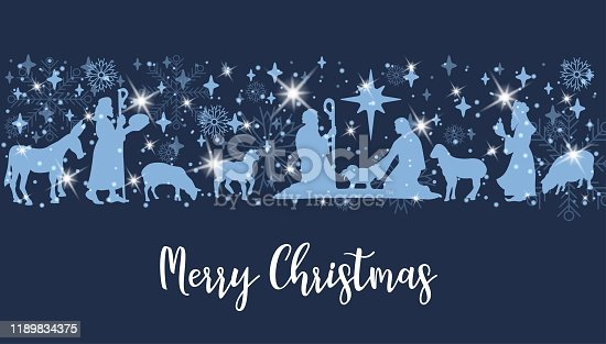 Birth of Christ scene horizontal banner. Merry Christmas card with Nightly christmas cribe with Mary and Joseph with baby Jesus. Donkey and sheep with spark and snowflake. Vector Illustration