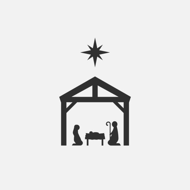 Birth of Christ, Silhouette of Mary, Joseph and Jesus isolated on white background. Vector illustration. Birth of Christ, Silhouette of Mary, Joseph and Jesus isolated on white background. Vector illustration. Eps 10. nativity silhouette stock illustrations