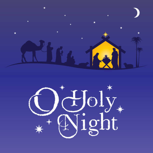 Birth of Christ, Silhouette of Mary, Joseph and Jesus, Vector EPS 10 trough stock illustrations