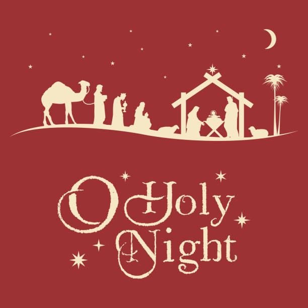 Birth of Christ, Silhouette of Mary, Joseph and Jesus, Vector EPS 10 nativity silhouette stock illustrations
