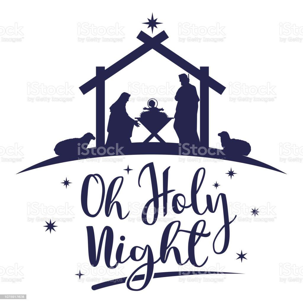 Naissance du Christ, la Silhouette de Marie, Joseph et Jésus, vecteur - clipart vectoriel de Abreuvoir libre de droits