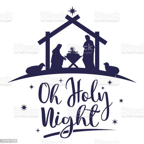 Naissance Du Christ La Silhouette De Marie Joseph Et Jésus Vecteur Vecteurs libres de droits et plus d'images vectorielles de Abreuvoir