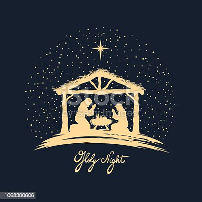 Christmas night. Vector illustration.