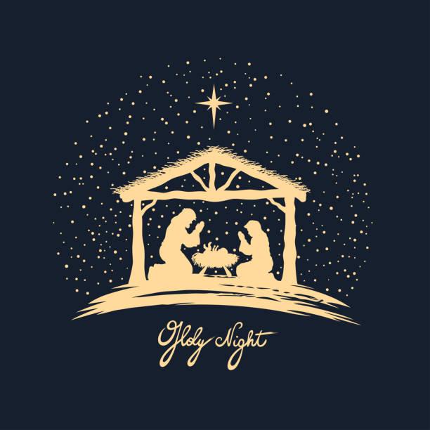 Birth of Christ Christmas night. Vector illustration. nativity silhouette stock illustrations