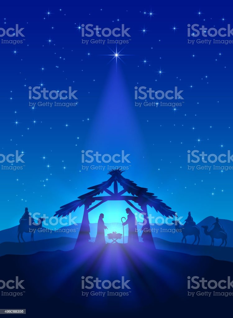 Birth of Jesus vector art illustration