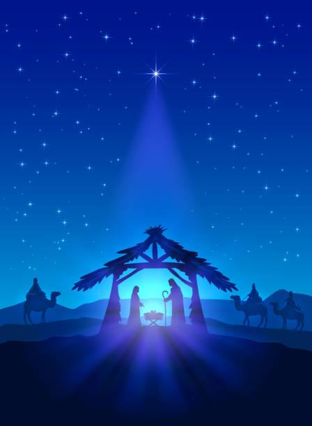 Birth of Jesus Christian theme, Christmas star on blue sky and birth of Jesus, illustration. nativity silhouette stock illustrations
