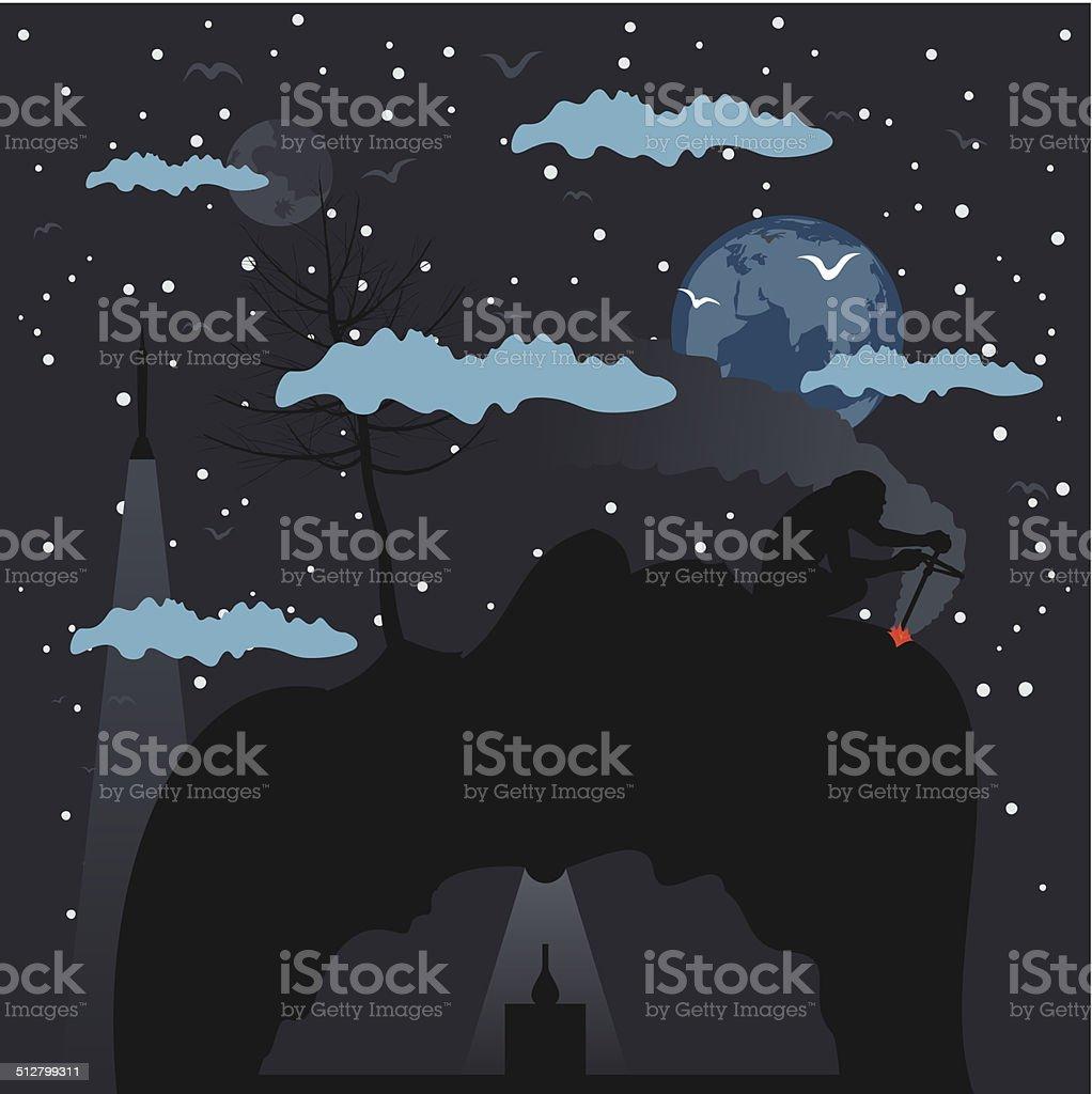 Birth of mankind vector art illustration