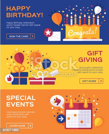 Happy Birthday, gift giving, special events and celebrations banner concepts with space for your copy. 851x315. EPS 10 file. Transparency effects used on highlight elements.