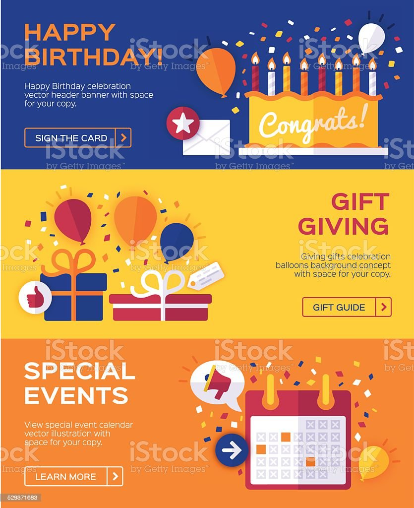 Birthday and Celebration Banners vector art illustration