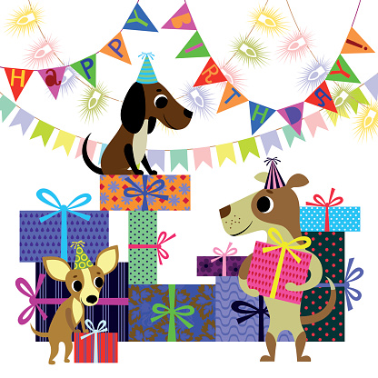 Birthday and Dogs with Boxes of Presents