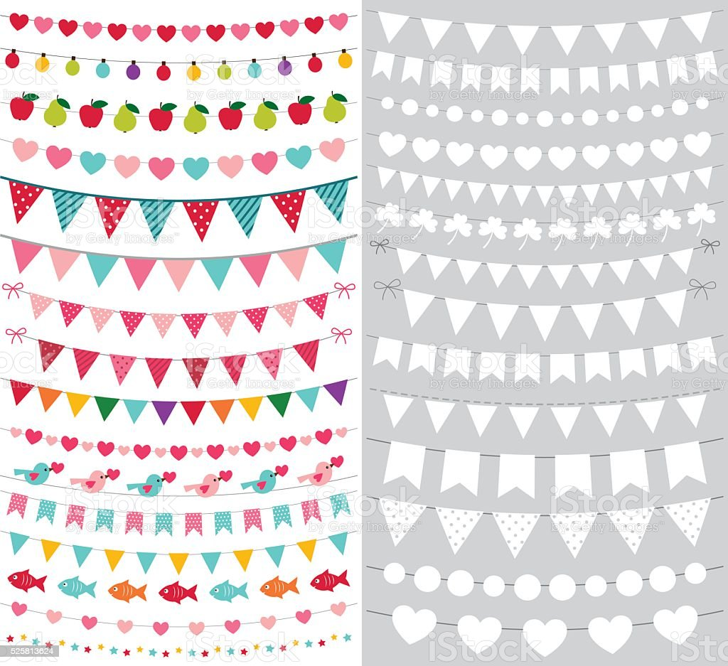 birthday and party bunting banners vector set with blank templates