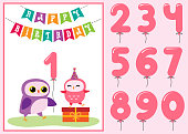 Birthday anniversary card with cute owls. Vector editable template with balloon numbers in pink color