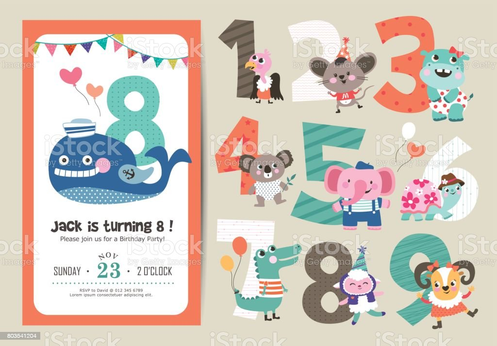 Birthday anniversary numbers vector art illustration