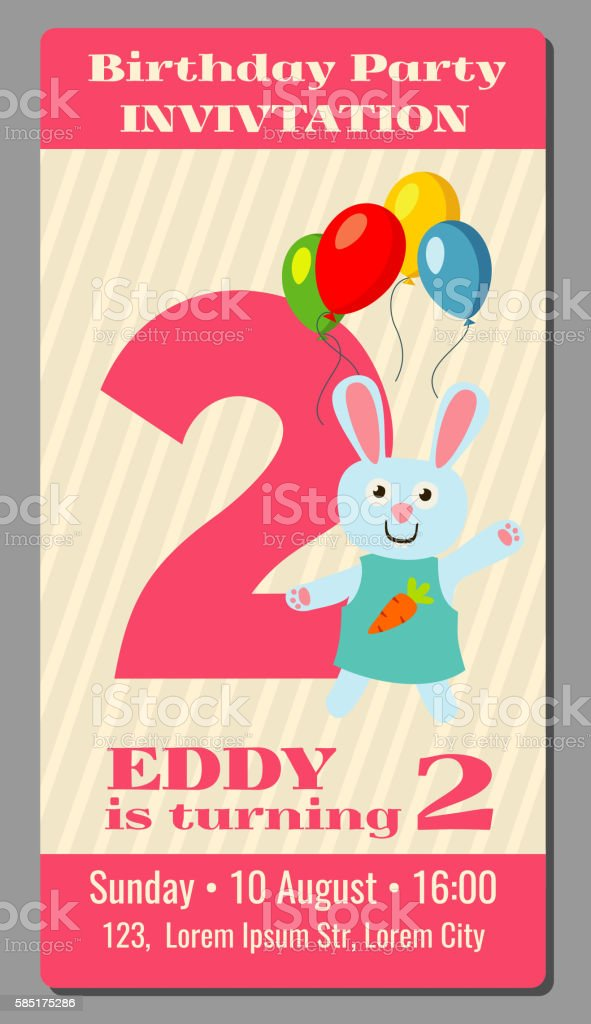 Ilustrao de birthday anniversary party invitation card with cute birthday anniversary party invitation card with cute rabbit vector template ilustrao de birthday anniversary party invitation stopboris Choice Image