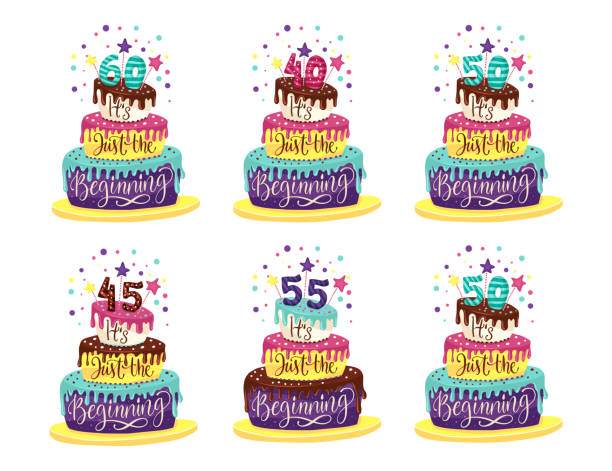 Birthday Anniversary vector. Adult 45th, 50th, 55th 40th, 60th Birthday Anniversary vector illustration set with color cartoon cake and hand drawn lettering quote - it is just the beginning. greeting card with the 45th anniversary stock illustrations