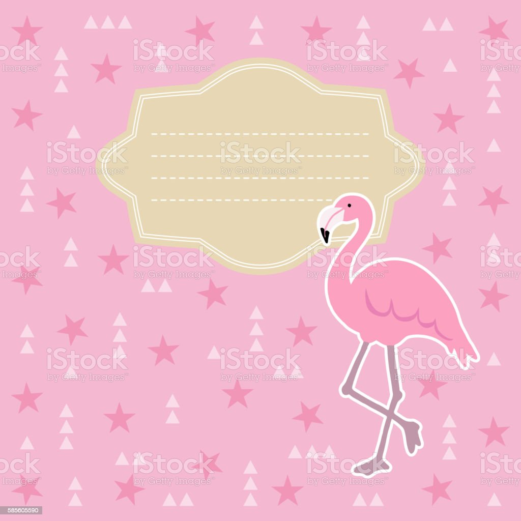 Birthday Baby Shower Greeting Card Invitation Flamingo Bird