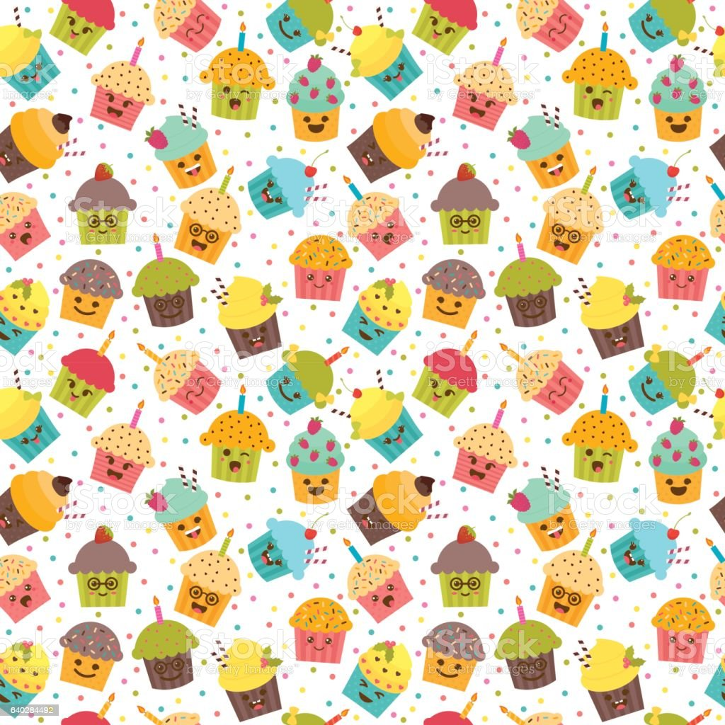 Birthday Background Kawaii Cupcakes Seamless Pattern Stock