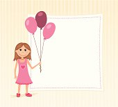 Birthday background with a girl holding balloons. CMYK.