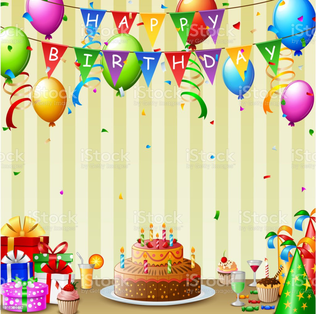 Cool Birthday Background With Birthday Cake And Colorful Balloon Stock Funny Birthday Cards Online Aboleapandamsfinfo