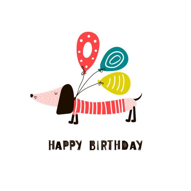 bildbanksillustrationer, clip art samt tecknat material och ikoner med födelsedag bakgrund med tax och ballonger - tax