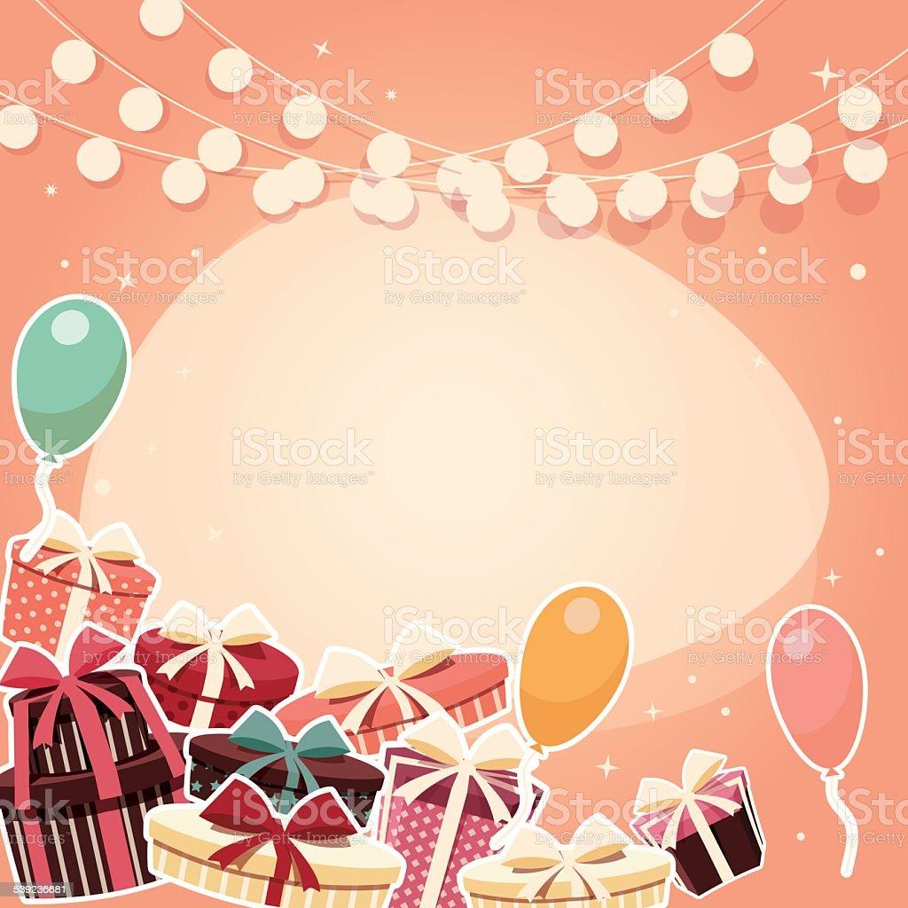 Fondo de cumpleaños con globos presenta y adhesivo ilustración de fondo de cumpleaños con globos presenta y adhesivo y más banco de imágenes de acontecimiento libre de derechos