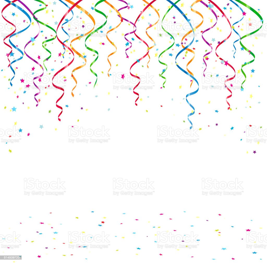 Birthday background with tinsel and confetti vector art illustration
