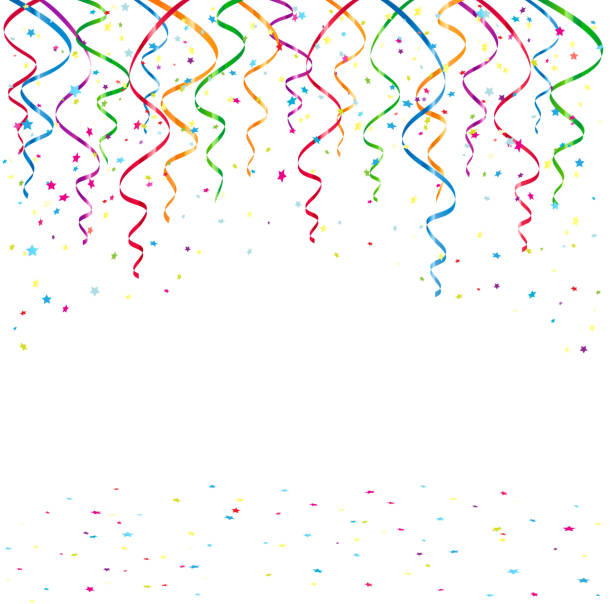 birthday background with tinsel and confetti - streamer stock illustrations, clip art, cartoons, & icons