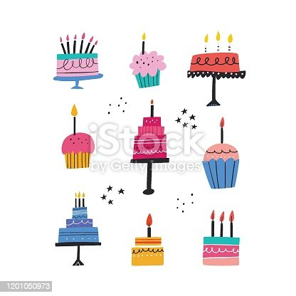 Birthday baked cakes flat vector illustrations set. Festive pastry with burning candles hand drawn pack. Anniversary cream desserts design elements. Muffins and tarts bundle on white background