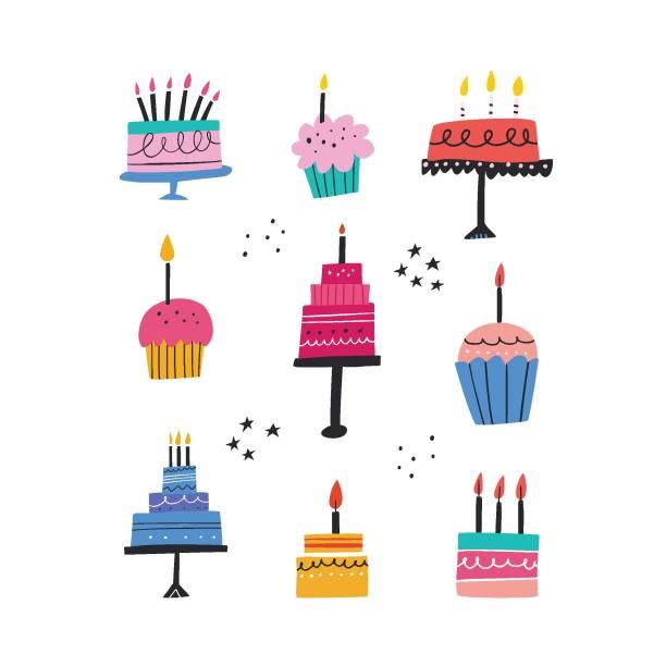 urodziny pieczone ciasta płaskie ilustracje wektorowe zestaw - ciasto stock illustrations