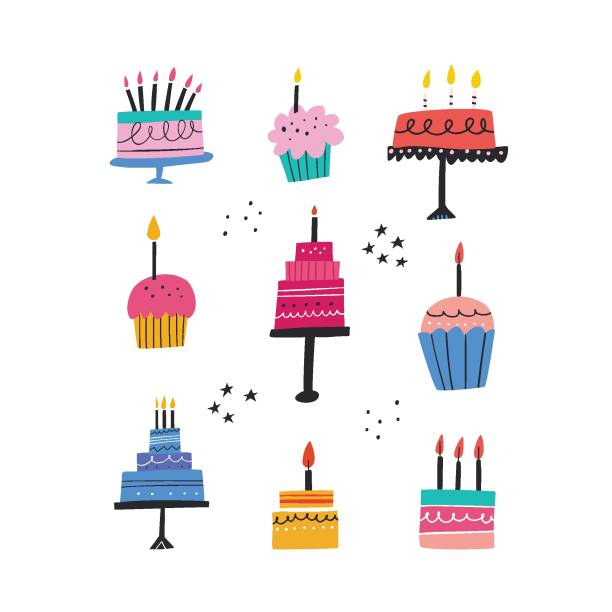 Birthday baked cakes flat vector illustrations set Birthday baked cakes flat vector illustrations set. Festive pastry with burning candles hand drawn pack. Anniversary cream desserts design elements. Muffins and tarts bundle on white background anniversary drawings stock illustrations