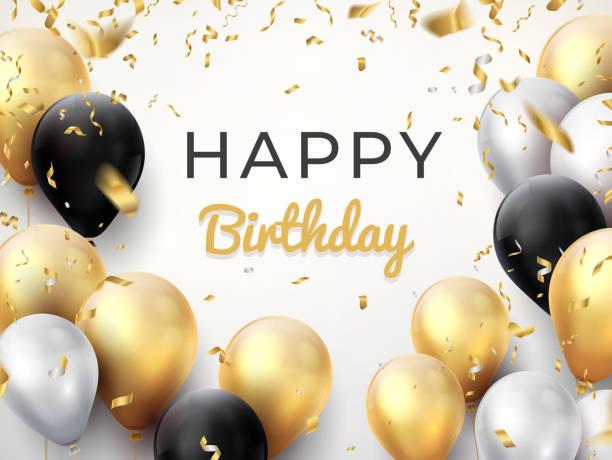 ilustraciones, imágenes clip art, dibujos animados e iconos de stock de fondo de globo de cumpleaños. tarjeta de la celebración del aniversario de oro, tarjeta de felicitación brillante de la decoración cartel de cumpleaños de vectores - cumpleaños