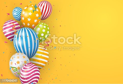 istock Birthday Balloon with colorful confetti 1170434247