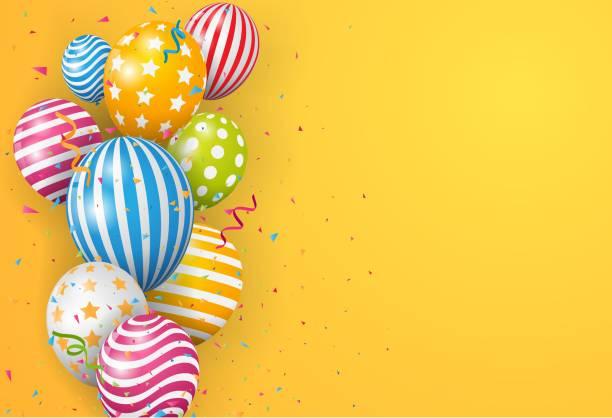 ilustraciones, imágenes clip art, dibujos animados e iconos de stock de globo de cumpleaños con confeti colorido - cumpleaños