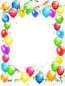 Birthday theme, frame of flying colorful balloons, multicolored pennants and confetti on white background, illustration.