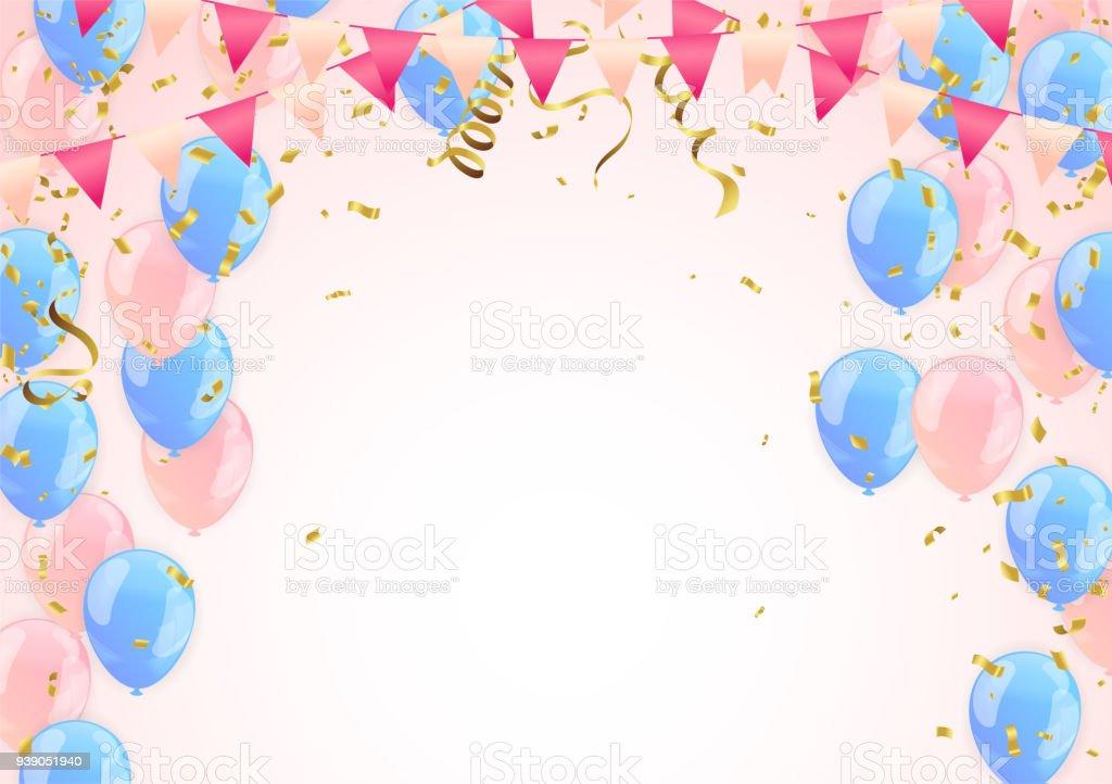 Verjaardag Ballonnen En Confetti Vector Illustratie Van Ballonnen