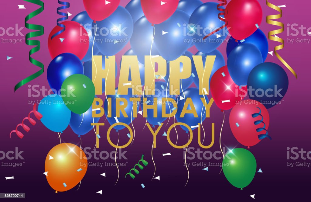 verjaardag ballonnen op paarse achtergrond stockvectorkunst en meer