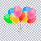 Birthday balloons with confetti isolated on transparent background. Happy birthday concept.