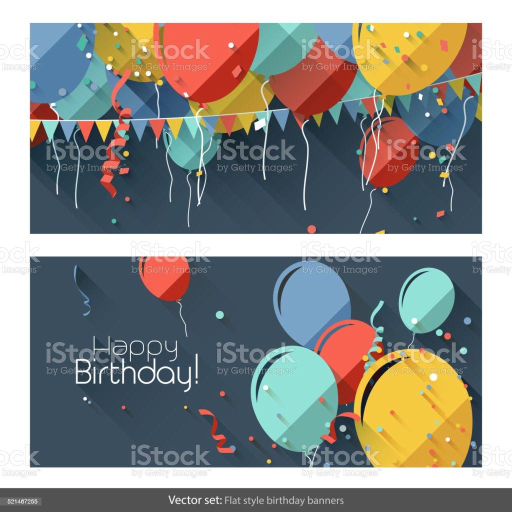 Birthday banners vector art illustration