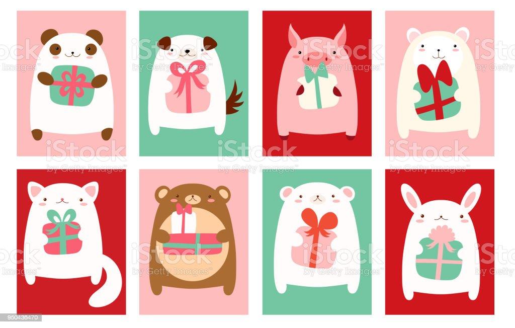 Banners de aniversário com animais fofos - ilustração de arte em vetor