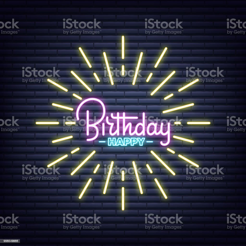 birthday birthday neon sign neon glowing signboard banner design